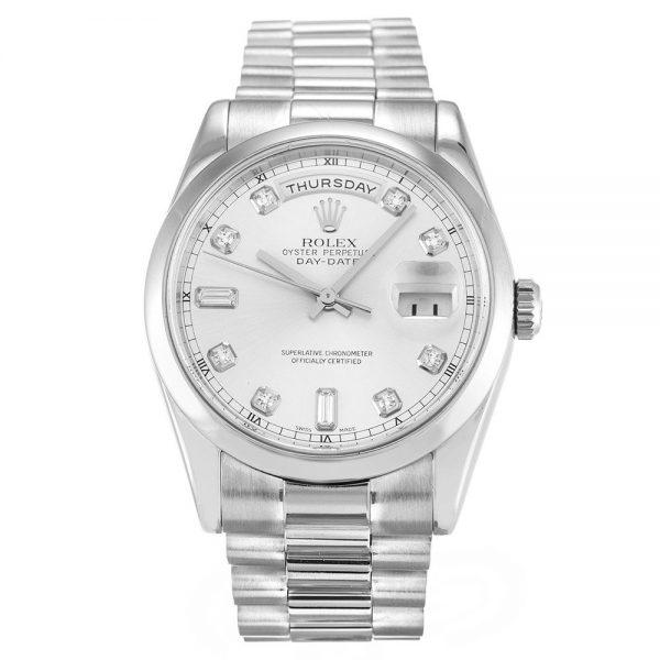 Rolex Day-date 118209 Mens 36MM Silver Diamond Dail