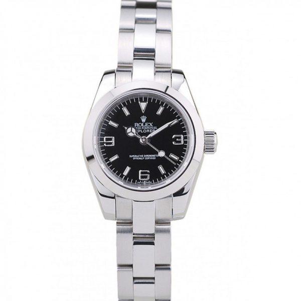 Rolex Explorer 69173 Women Stainless Steel Case Black Dail